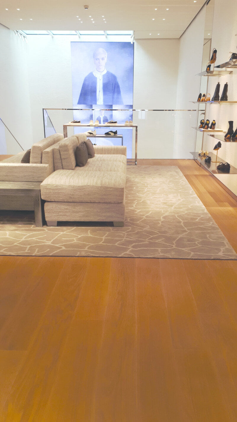 A boutique with light and creamy hardwood flooring.