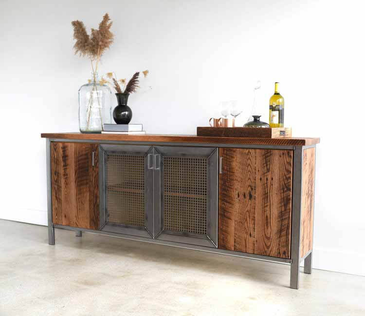 Industrial cabinet from steel and rustic wood finished with Rubio Monocoat wood finish.