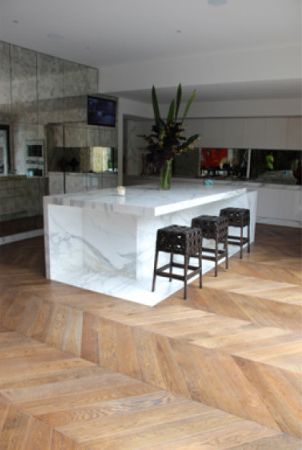 Beautiful kitchen in Australian home features wooden floors finished with Rubio Monocoat.