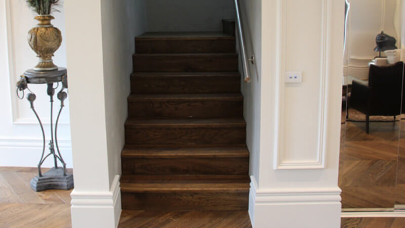 Wood stairway finished with a hardwax oil.