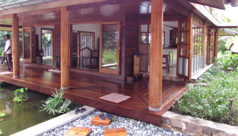 An exterior deck at a resort that is finished with Rubio Monocoat exterior wood oil.