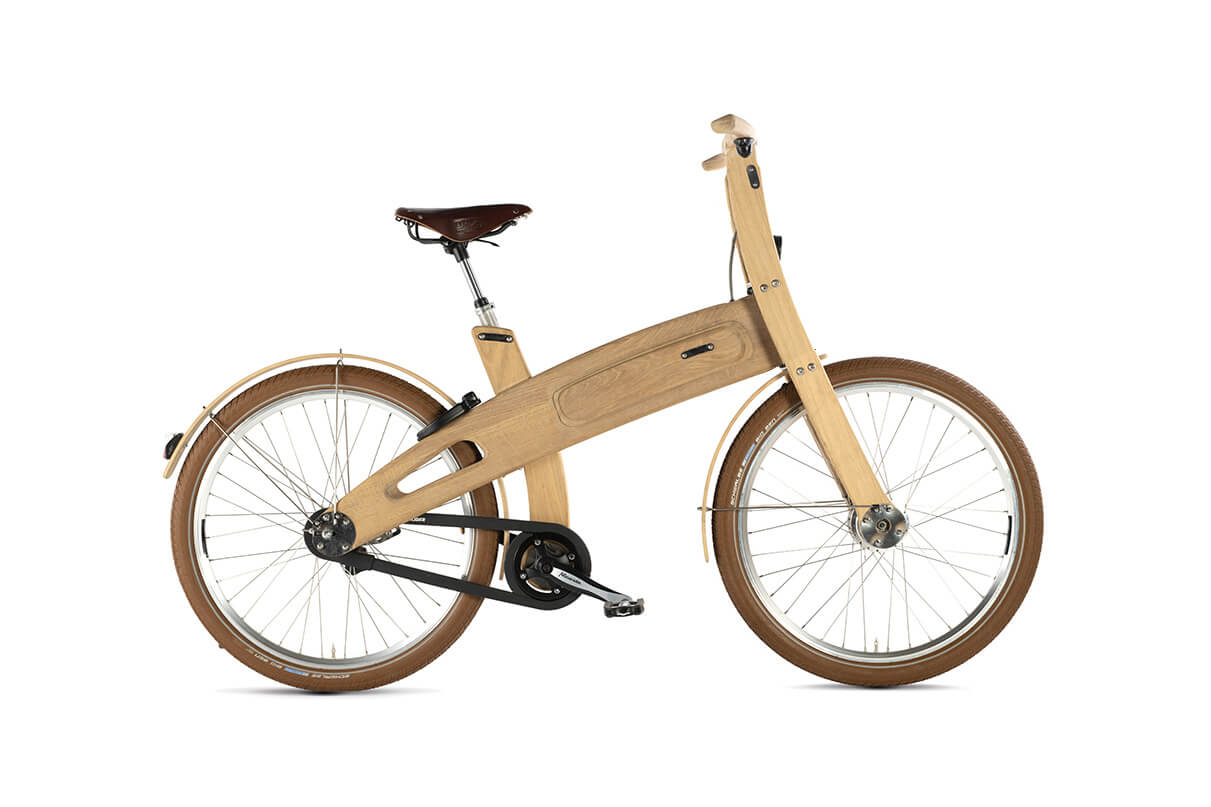 A wooden bike finished with Rubio Monocoat products.