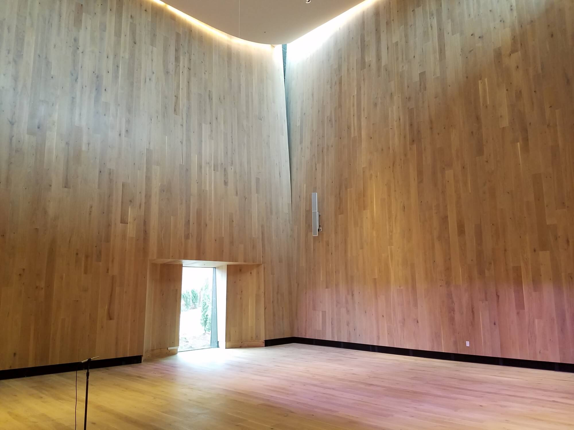 Large concert hall with wood walls shaped like an instrument to direct sound upwards.