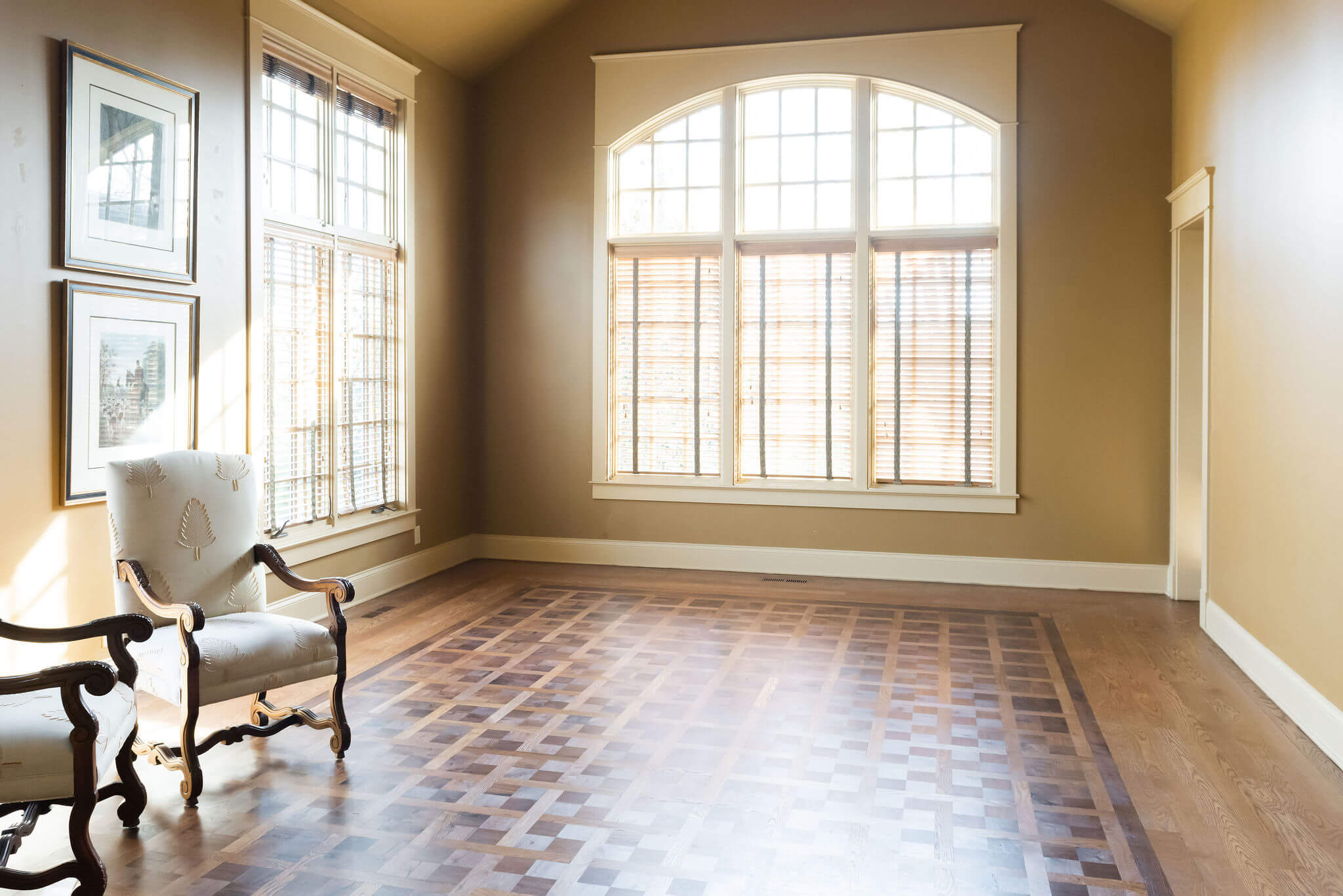 Stunning parquet floor finished with Rubio Monocoat products is lit perfectly.