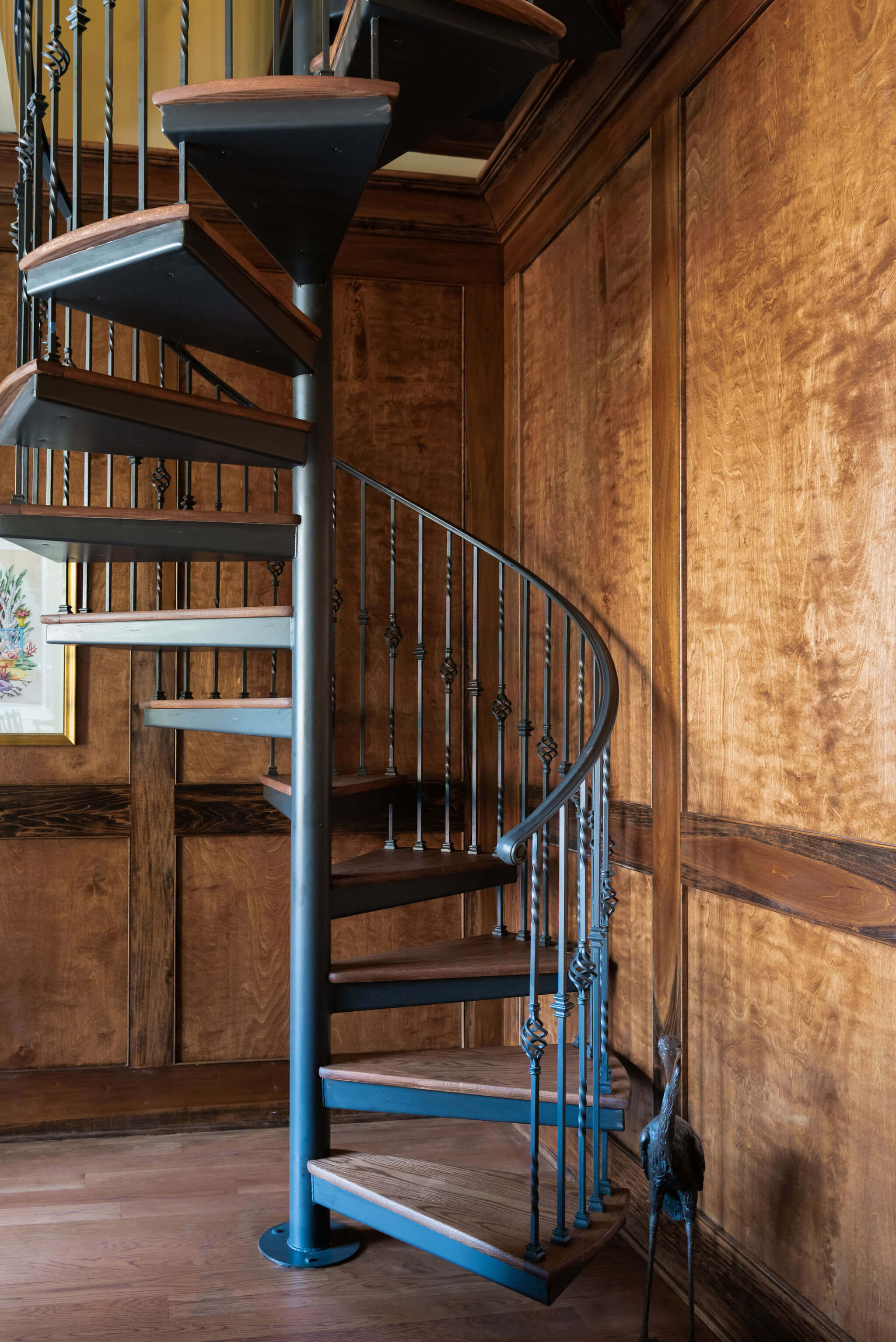 Spiral stair case with wood finished with Rubio Monocoat products.
