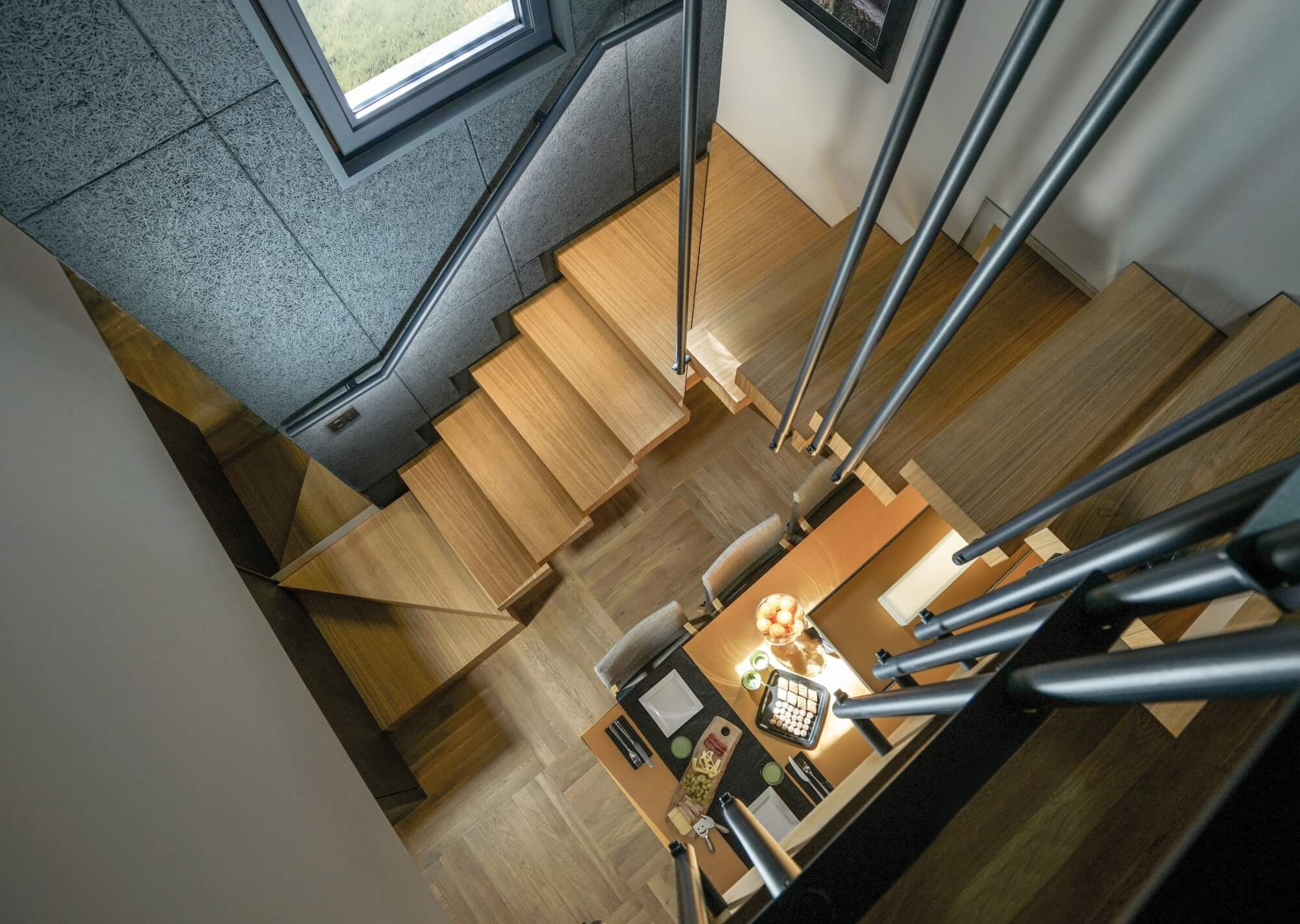 Top down view of modern hardwood stairs.