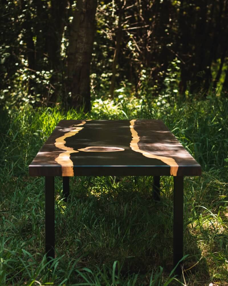 Lead wood river table.