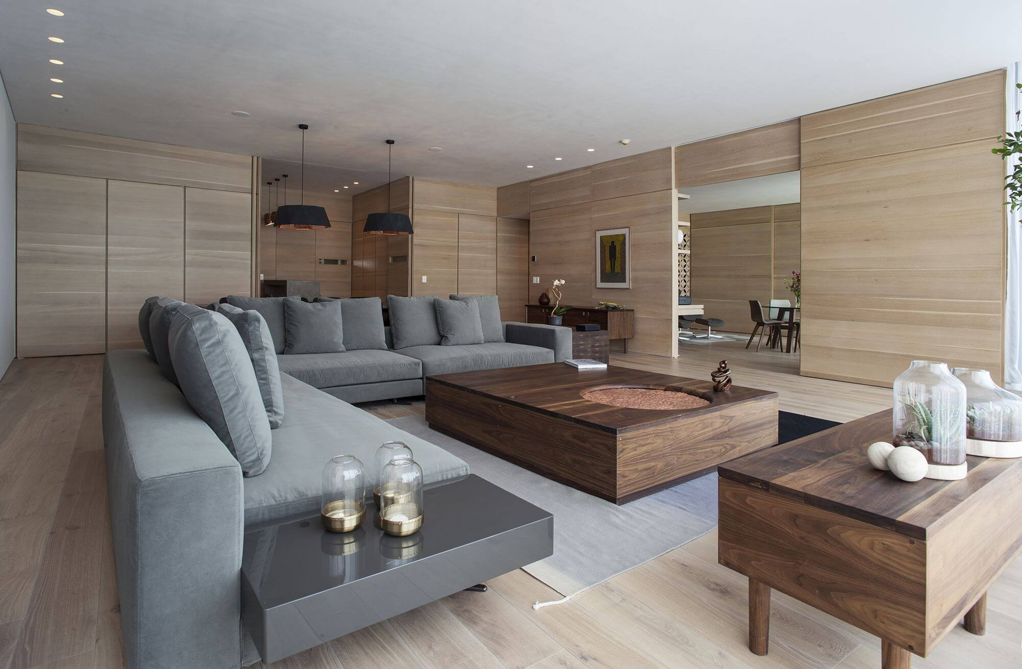 Living room with many wooden features finished with Rubio Monocoat.