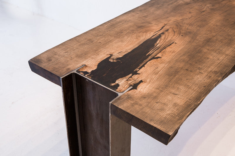 Rubio Monocoat used to finish live edge wooden bench.