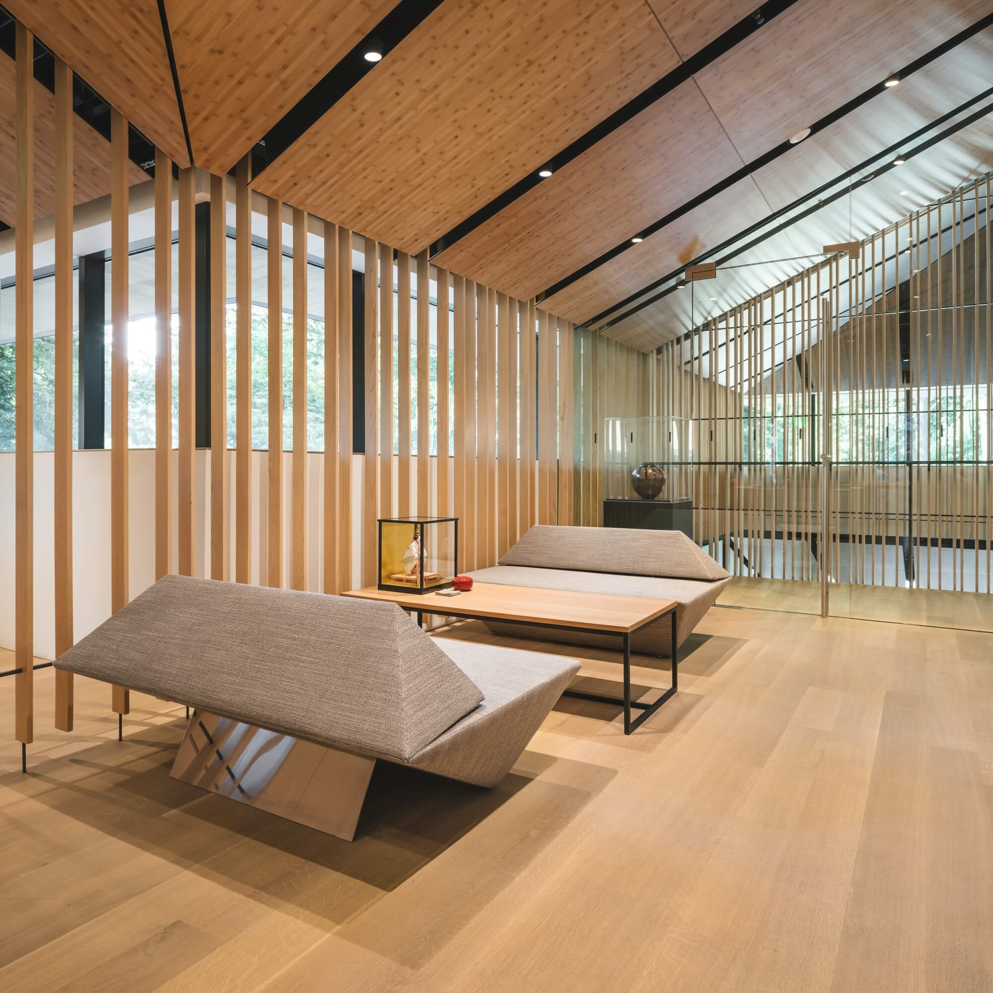 Wide plank wood floors in a Japanese style modern home.
