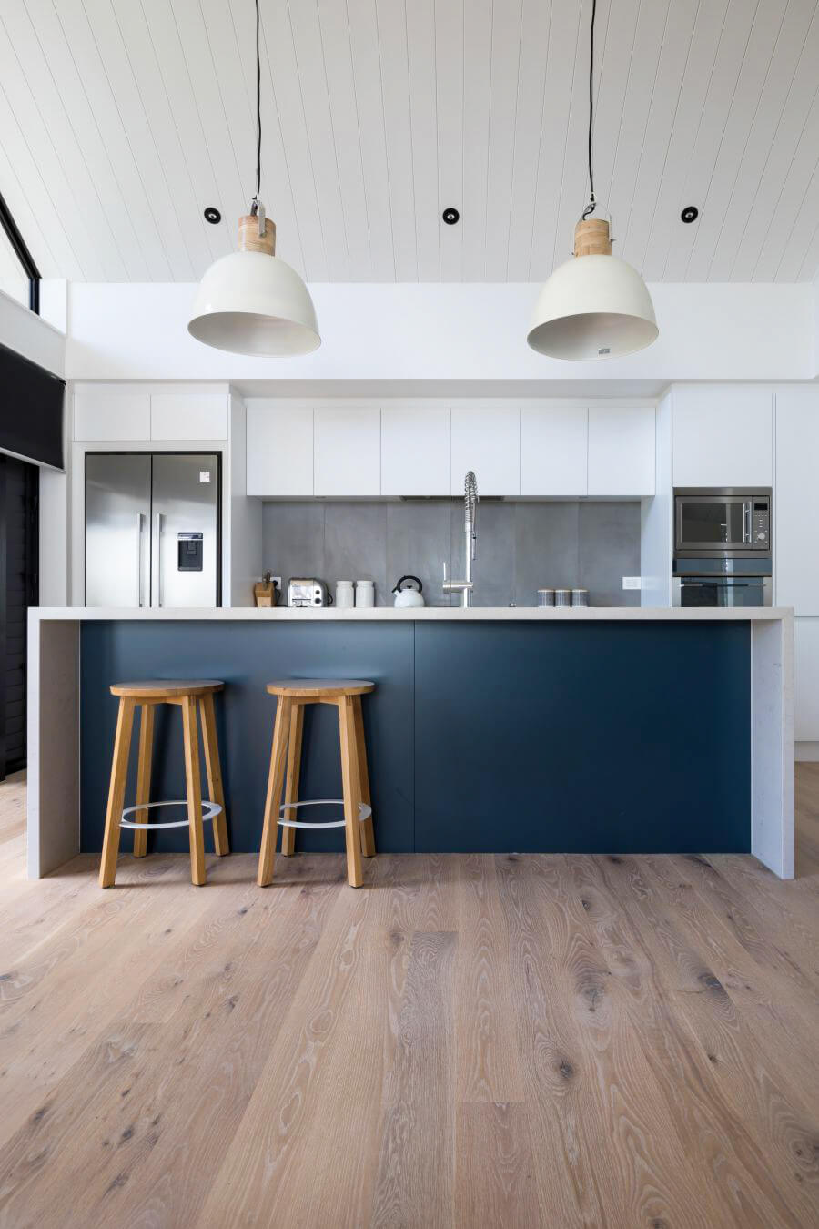 Kitchen with american oak plank floors.