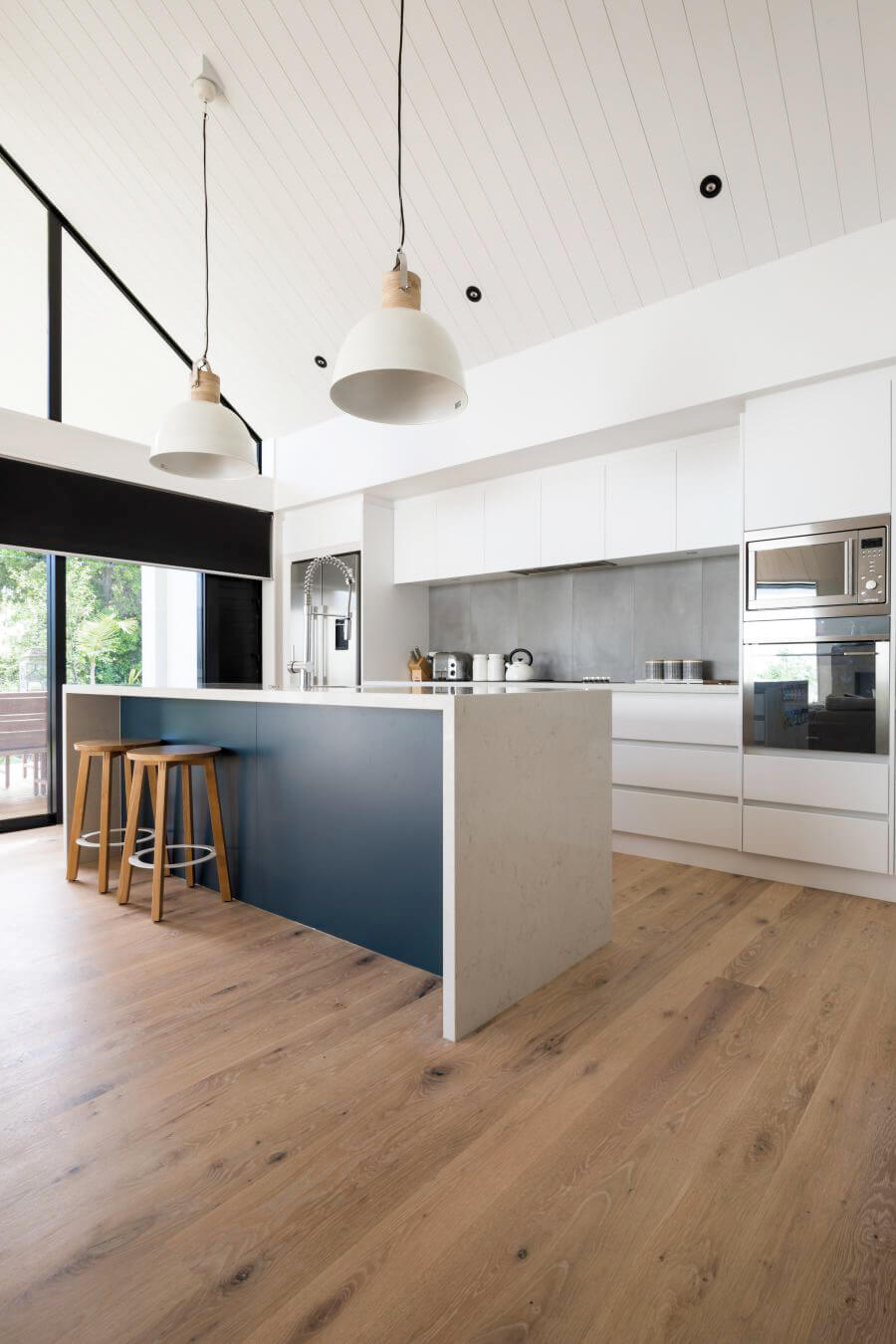 Modern and bright kitchen with american oak hardwood flooring.