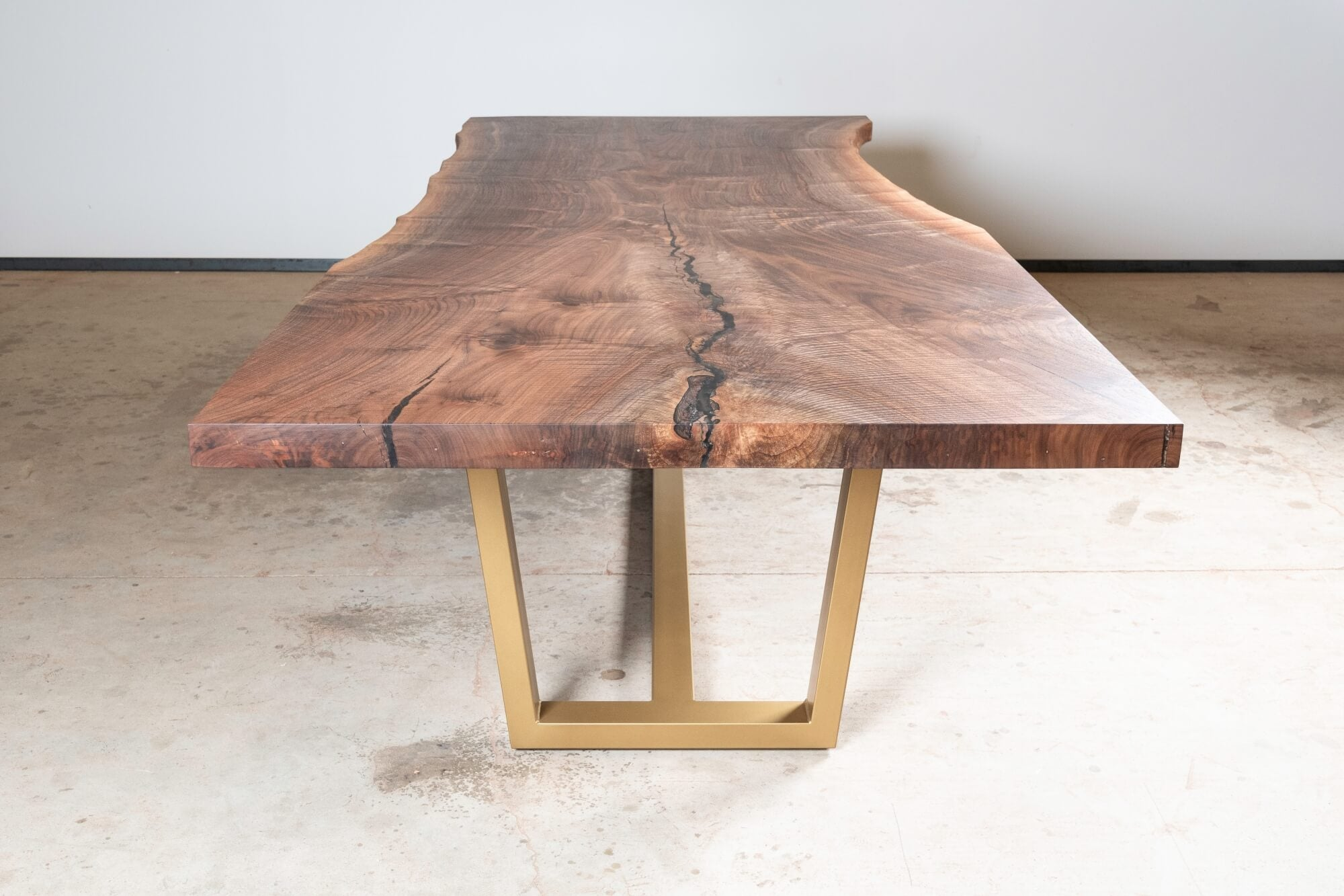 Wooden live edge table finished with Rubio Monocoat.