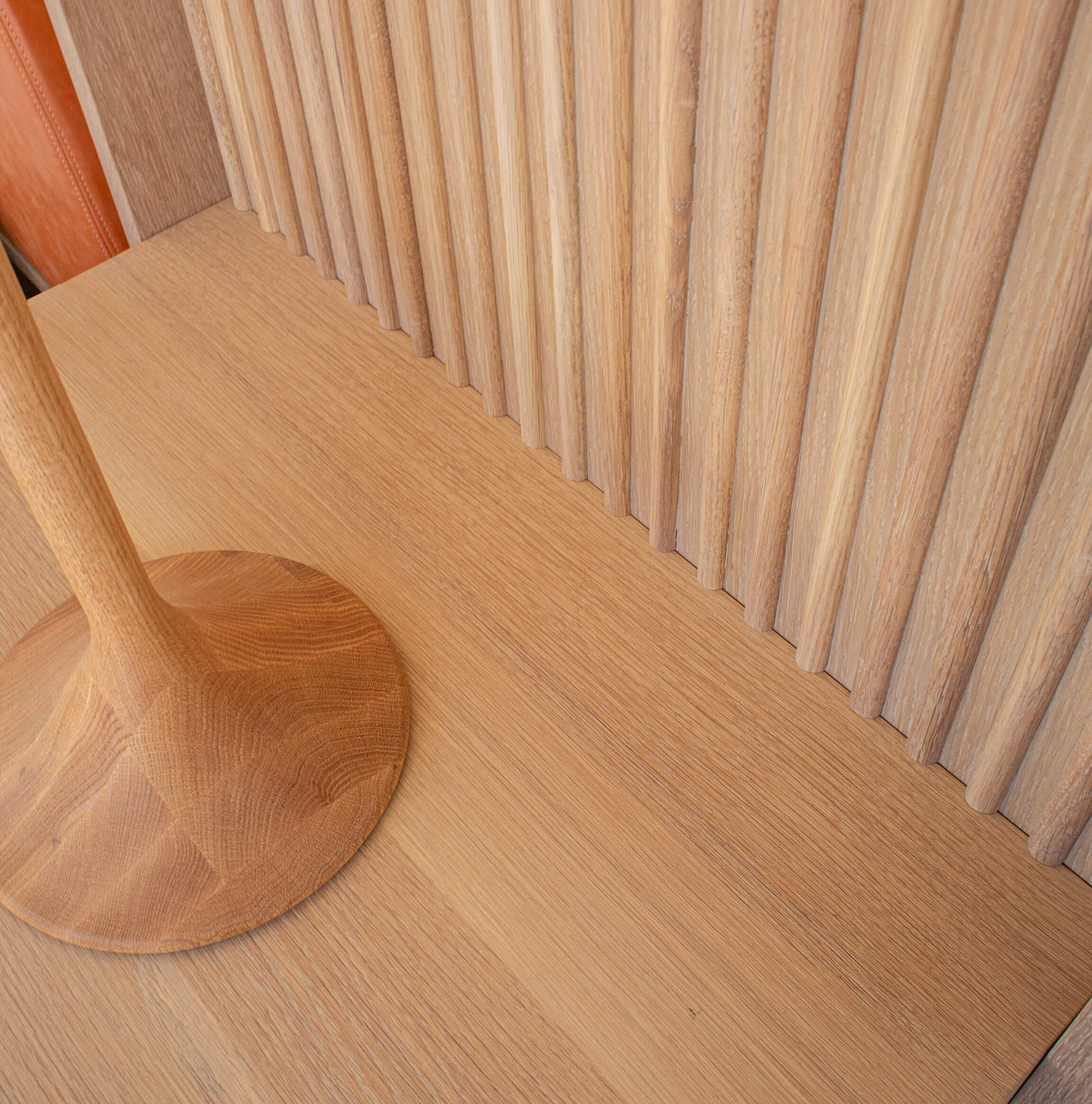 Details of a modern white oak bed frame finished with natural wood finish from Rubio Monocoat.