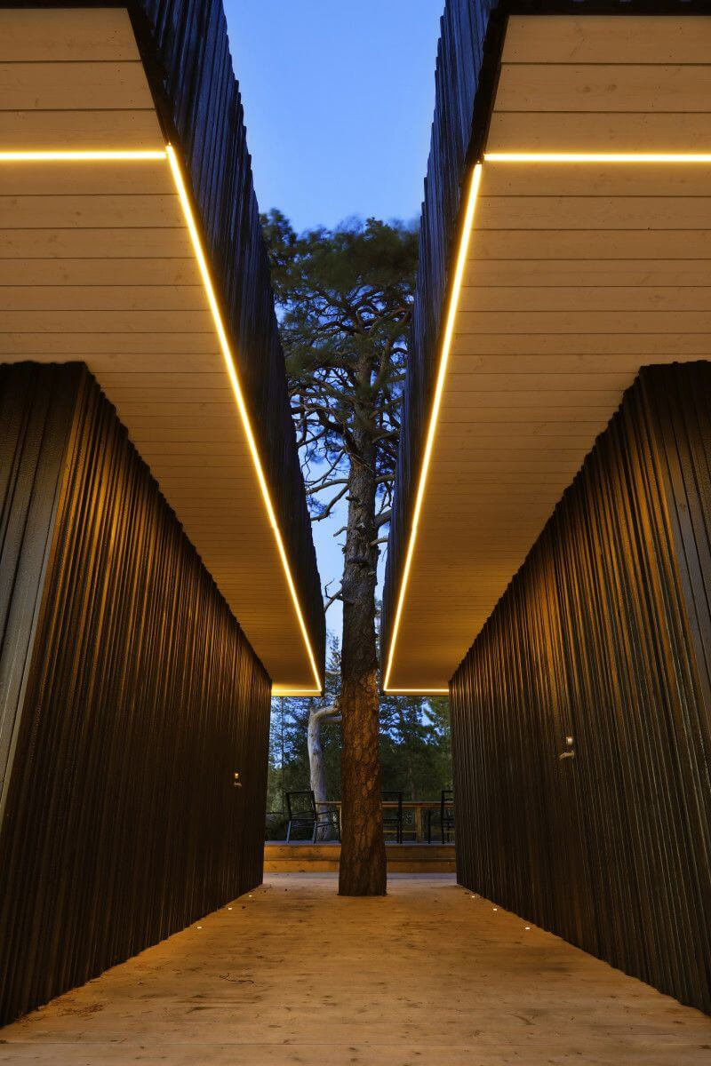 Courtyard features wooden walls finished with Rubio Monocoat.