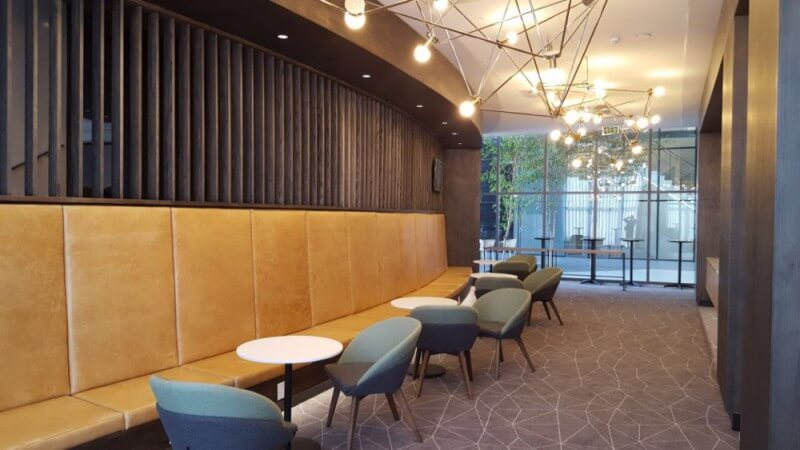 Office building interior design wood wall cladding.