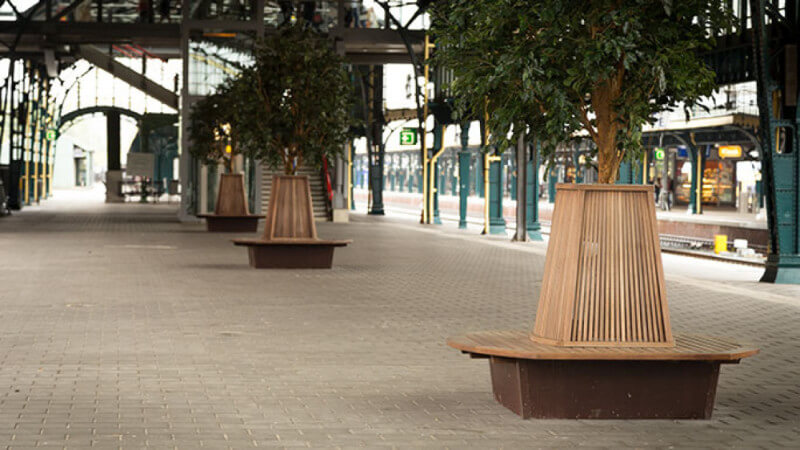 Round wooden benches with a natural wood finish.