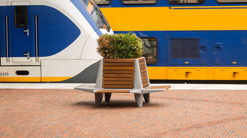 Wooden bench finished with Rubio Monocoat at a Dutch train station.