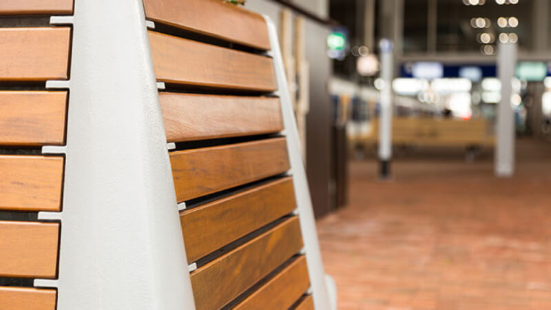 Close up of wooden bench finished with Rubio Monocoat.