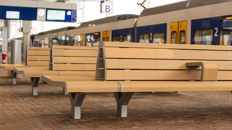 Wooden benches finished with Rubio Monocoat.