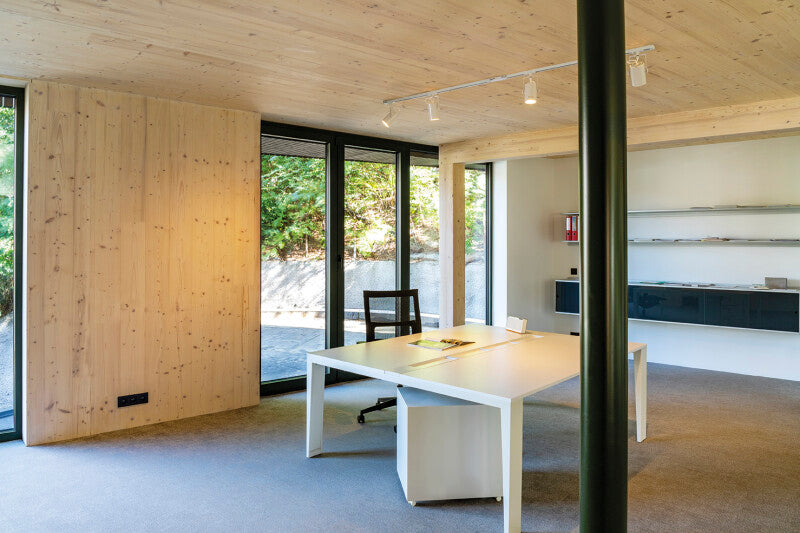 Modern office with wood finished with Rubio Monocoat products.
