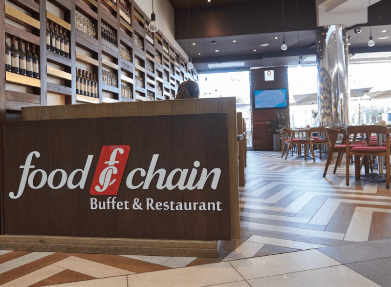 A restaurant sign made with wood background for the display.