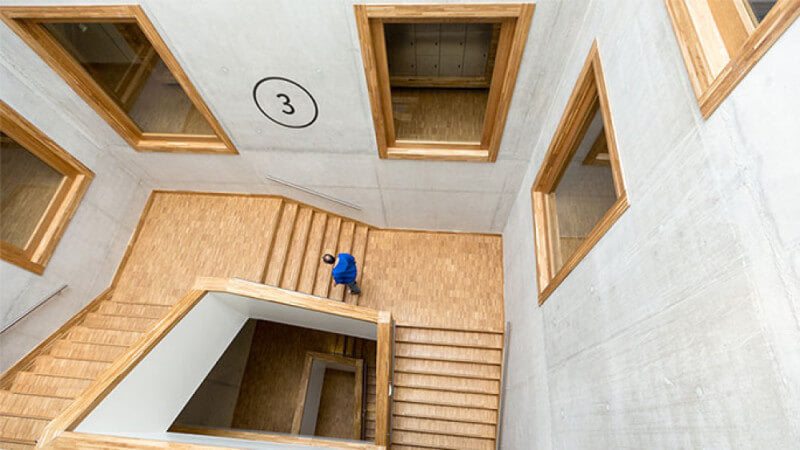 Mesmerizing wooden staircase finished with Rubio Monocoat.