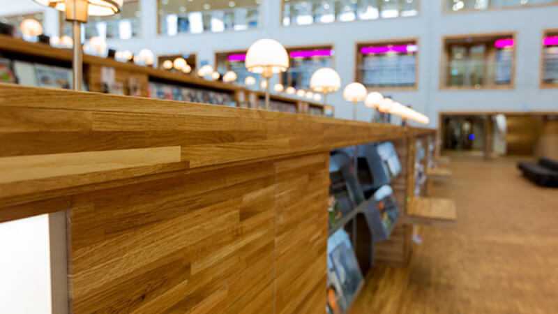 Details of a library wooden desk finished with Rubio Monocoat.