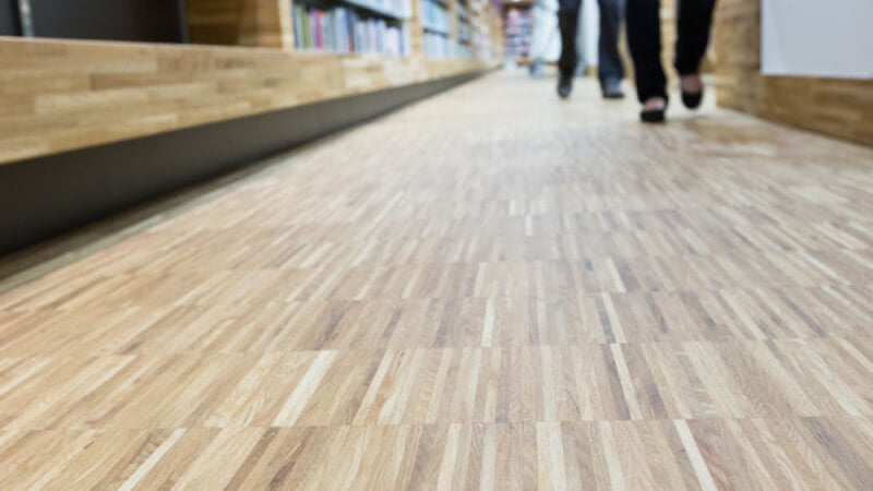 Library wooden floor finished with hardwax oil.