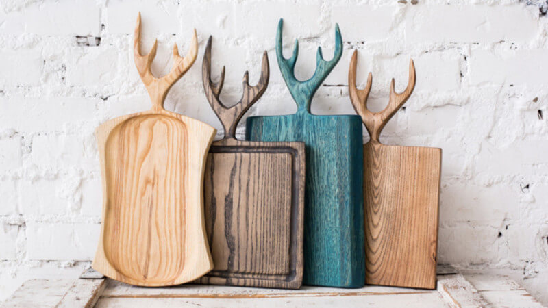 Wood kitchen serving trays and accessories.