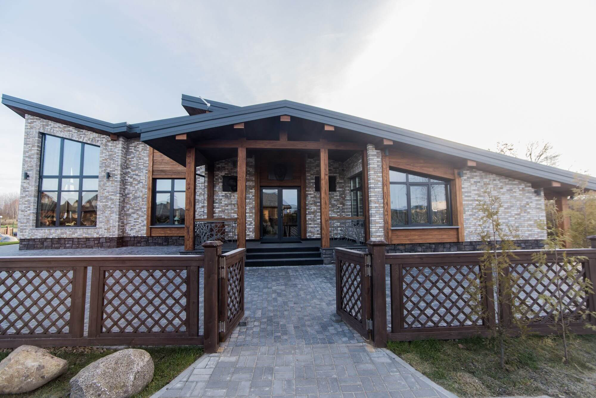 Beautiful home features exterior wooden features finished with Rubio Monocoat.