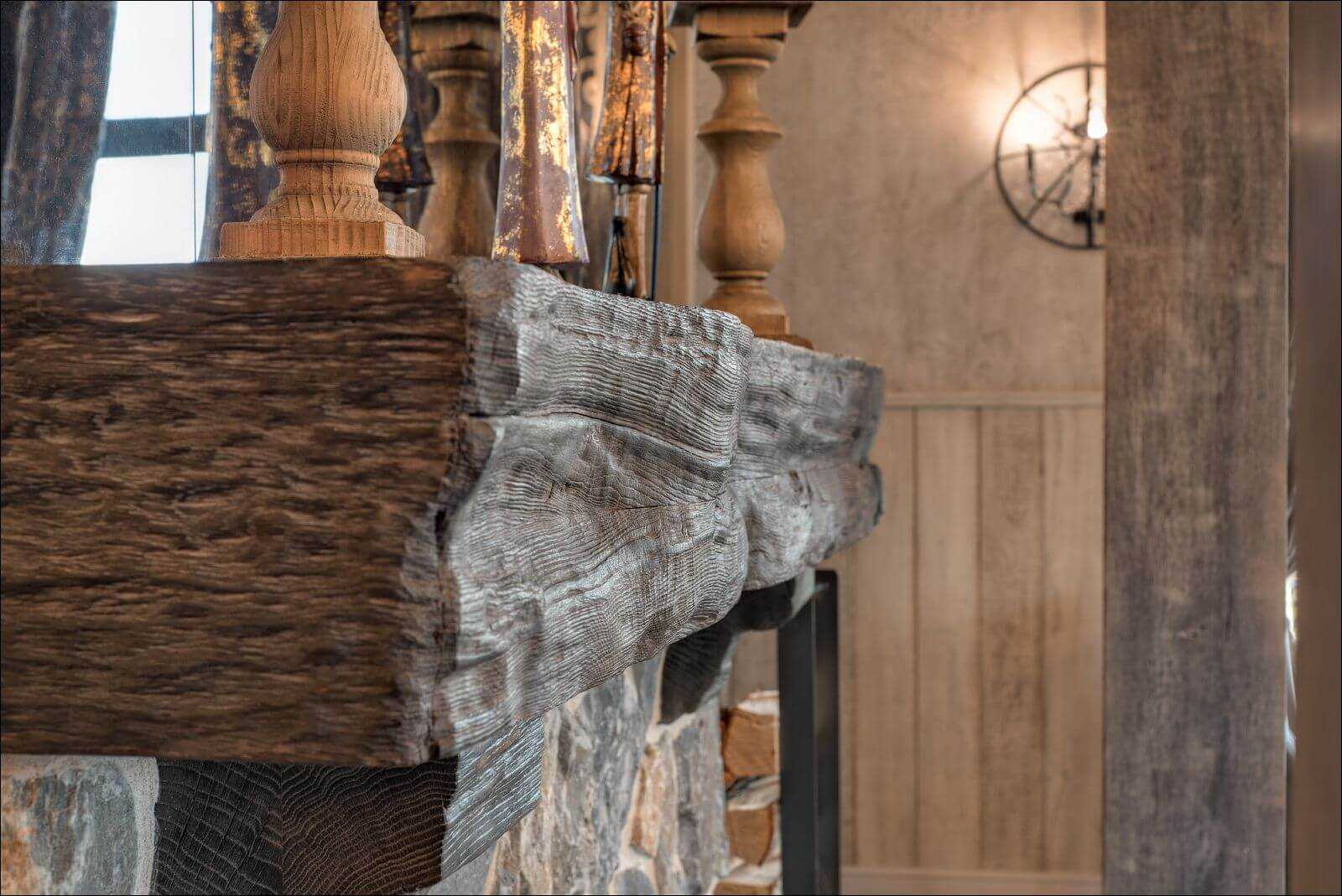 Details of live edge wooden fireplace hearth finished with Rubio Monocoat.