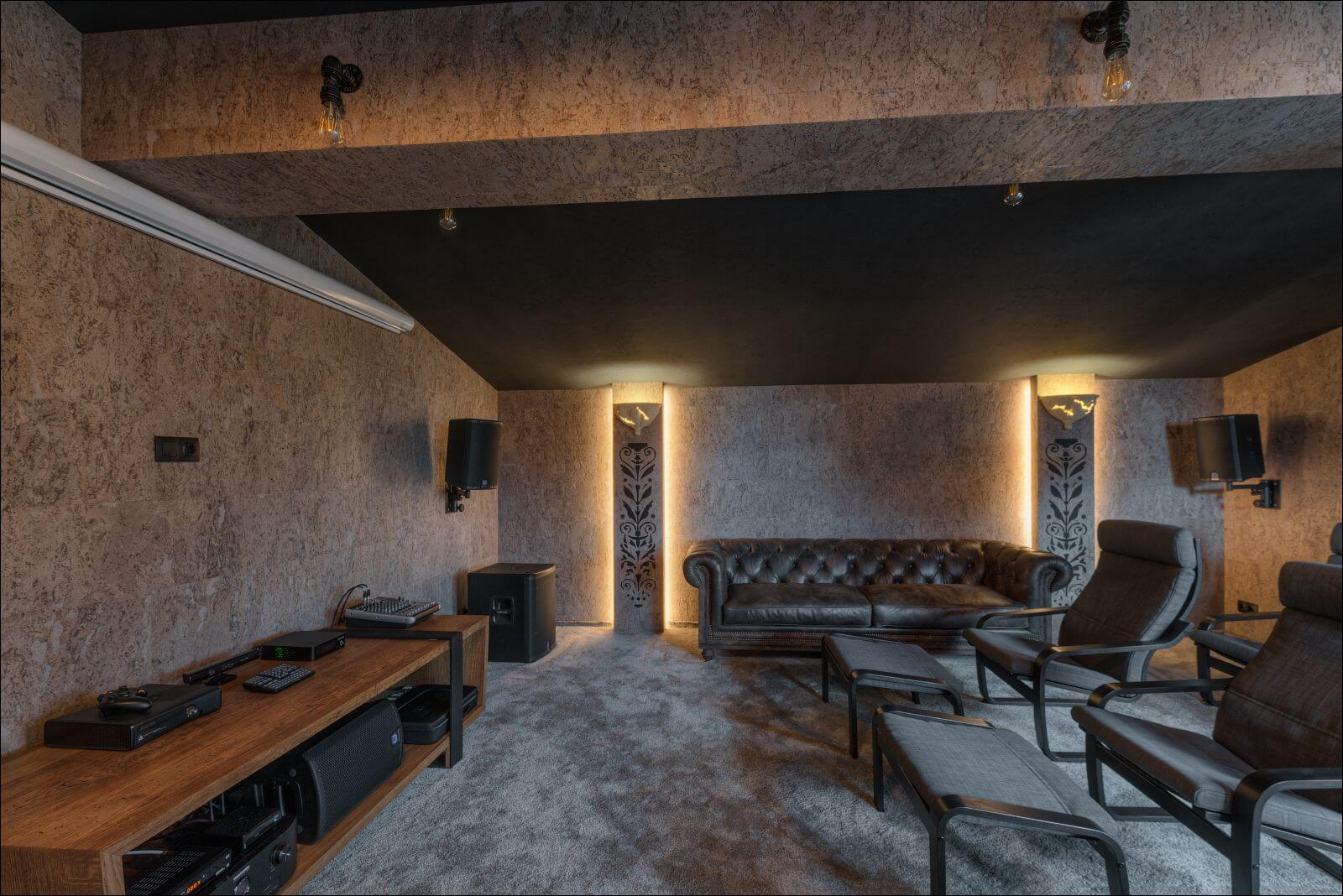 Movie theater room features wood finished with Rubio Monocoat.