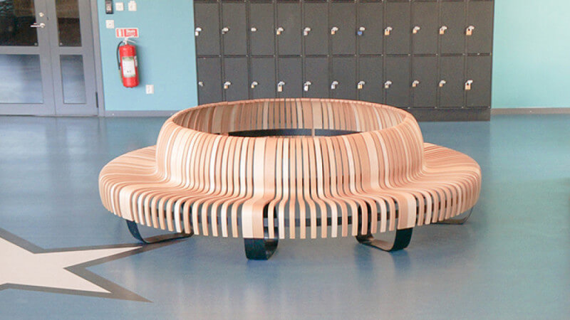 Circular wooden bench finished with Rubio Monocoat Oil Plus 2C.