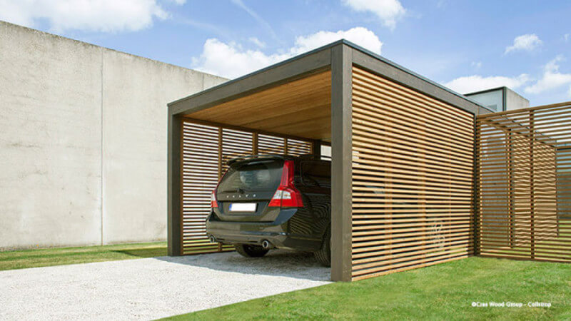 A modern carport finished with Rubio Monocoat exterior oil.