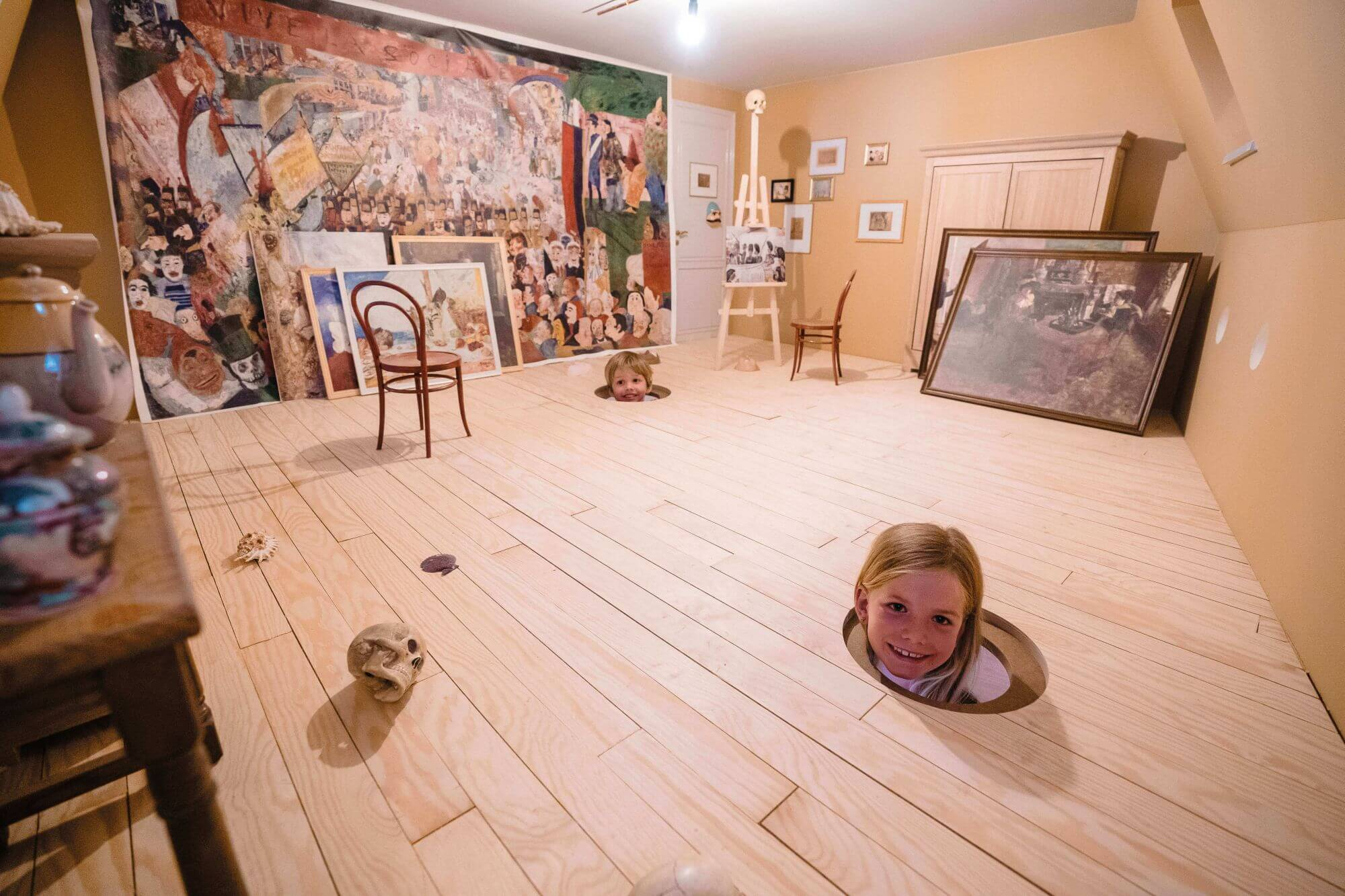 Unique museum with natural wood floors puts you in the mind of a world famous artist.