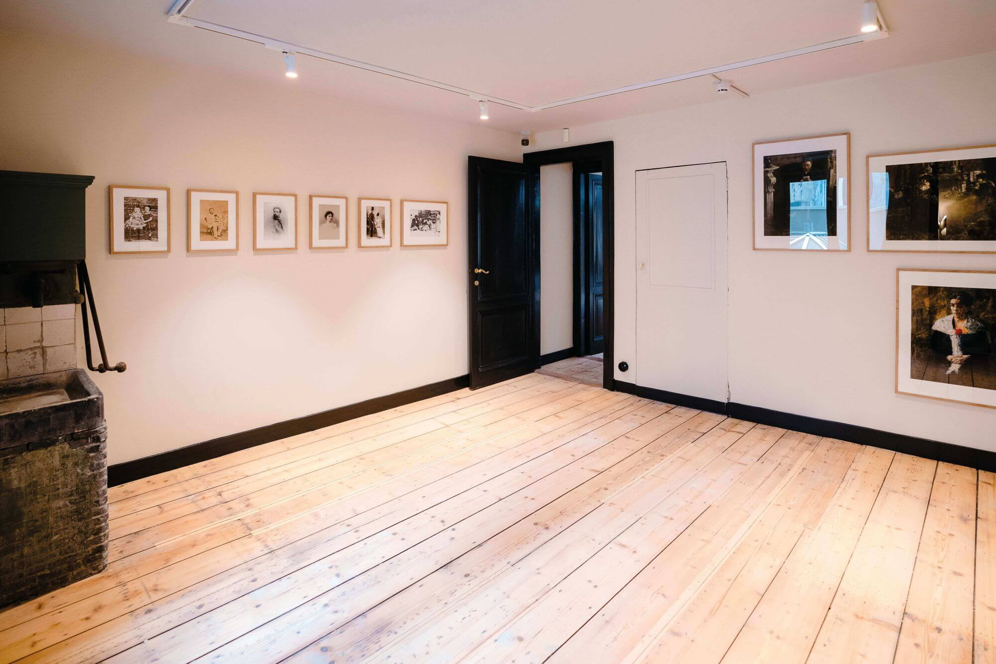 Beautiful larch wood flooring finished with natural wood finish.