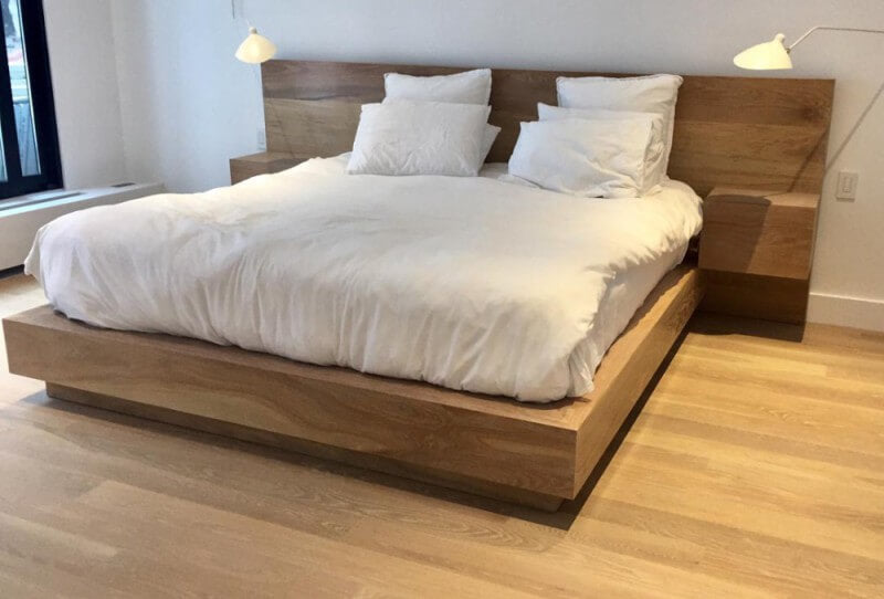 Brooklyn apartment with wooden bed finished with Rubio Monocoat.