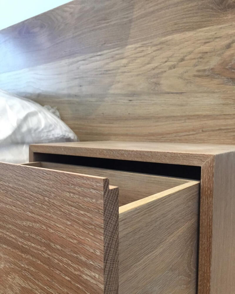 Details of a wooden bed frame finished with Rubio Monocoat Oil Plus 2C.