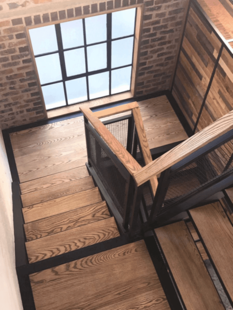 Wooden stairway finished with a gorgeous natural oil wood finish.