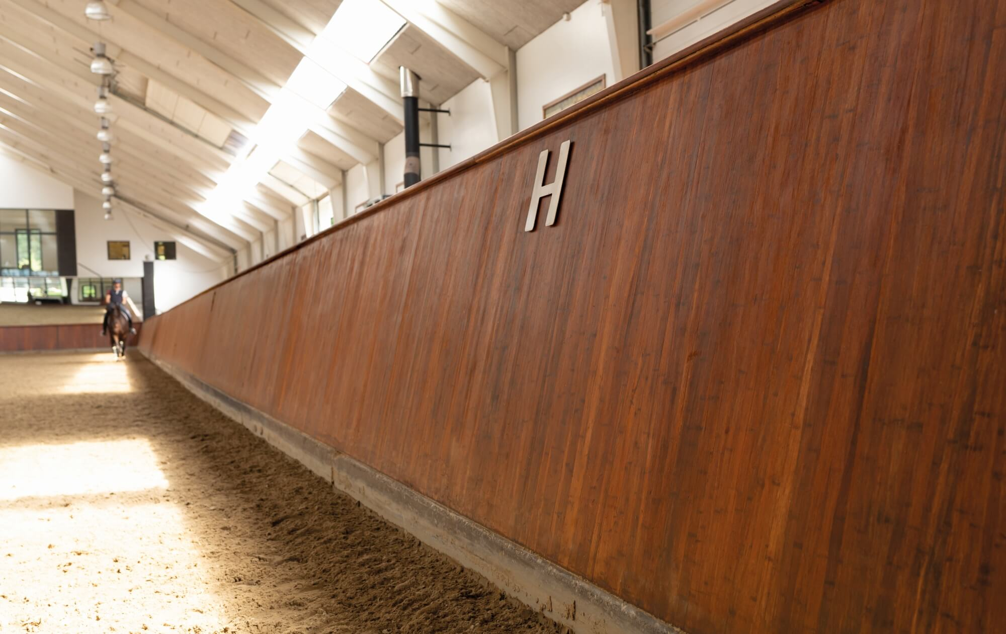 Horse arena wood finish.