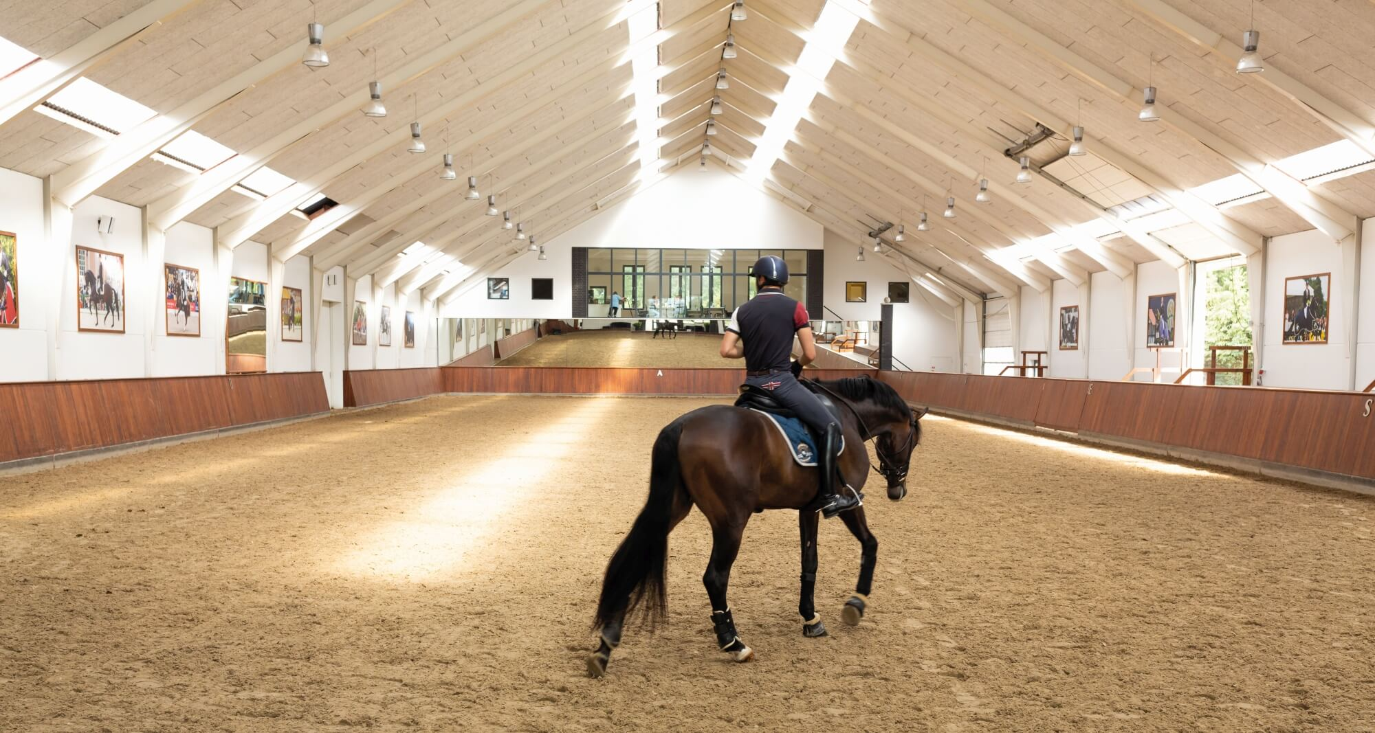 Rider riding a horse in an arena with wood barriers finished using Rubio Monocoat.