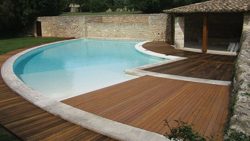 A pool deck finished with exterior wood oil.