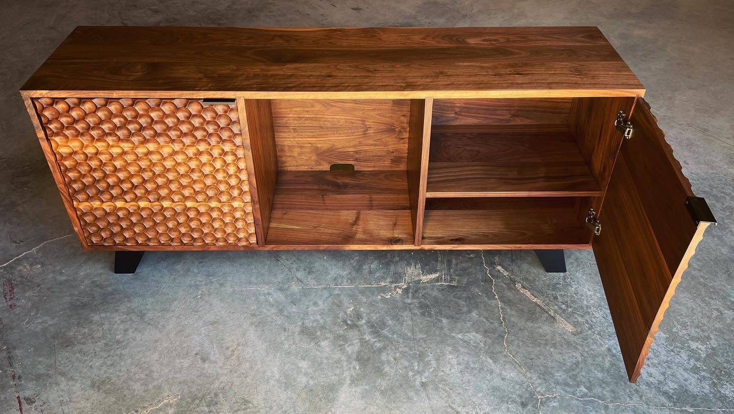 Walnut wood cabinet finished with natural oil.