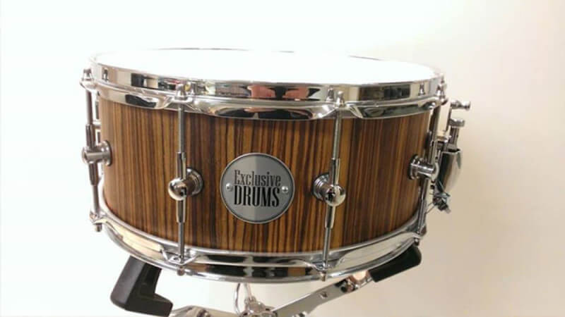 A custom drums shell made from Zebrano wood.