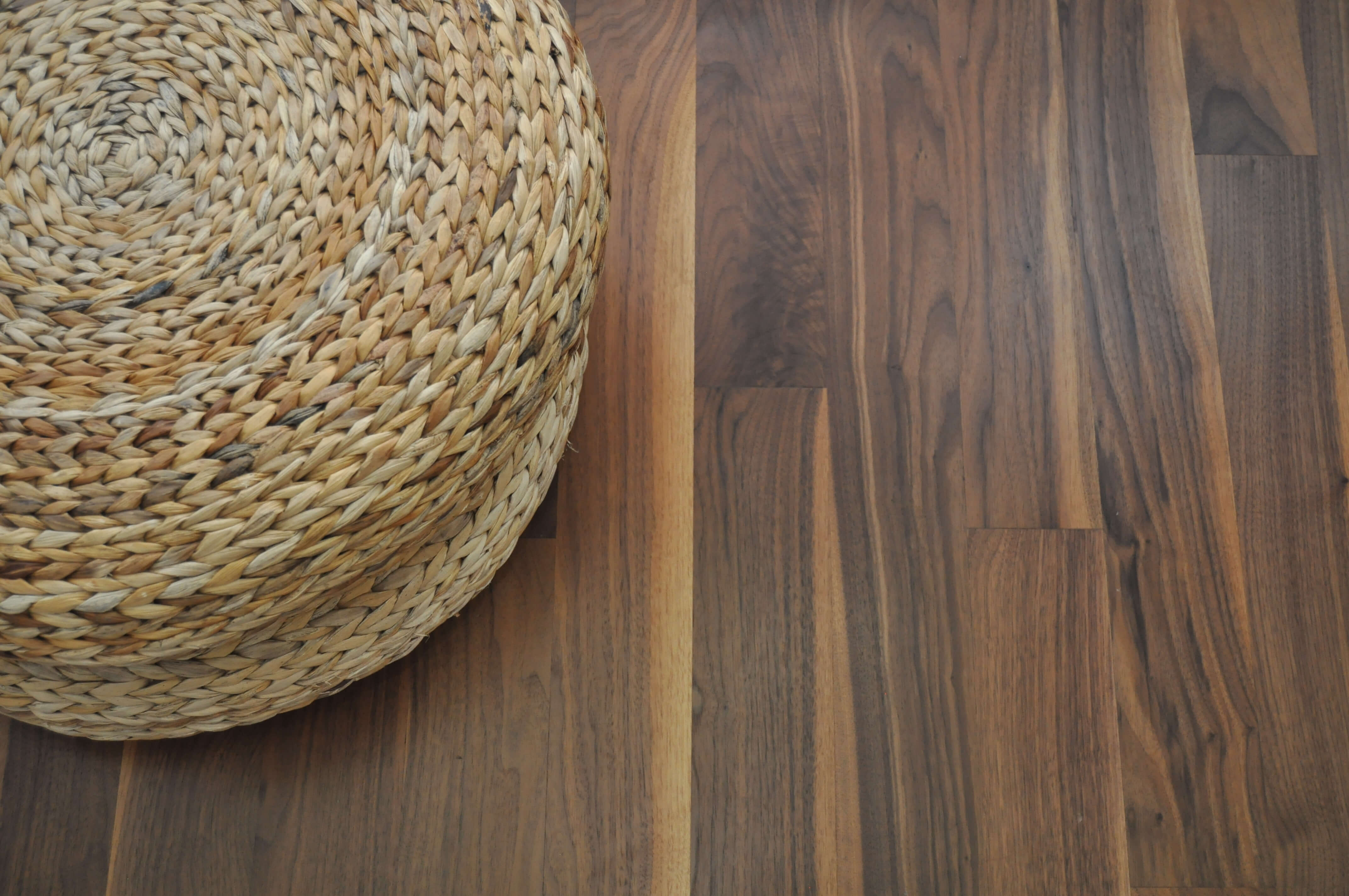 Beautiful colors from walnut floors finished with Rubio Monocoat.