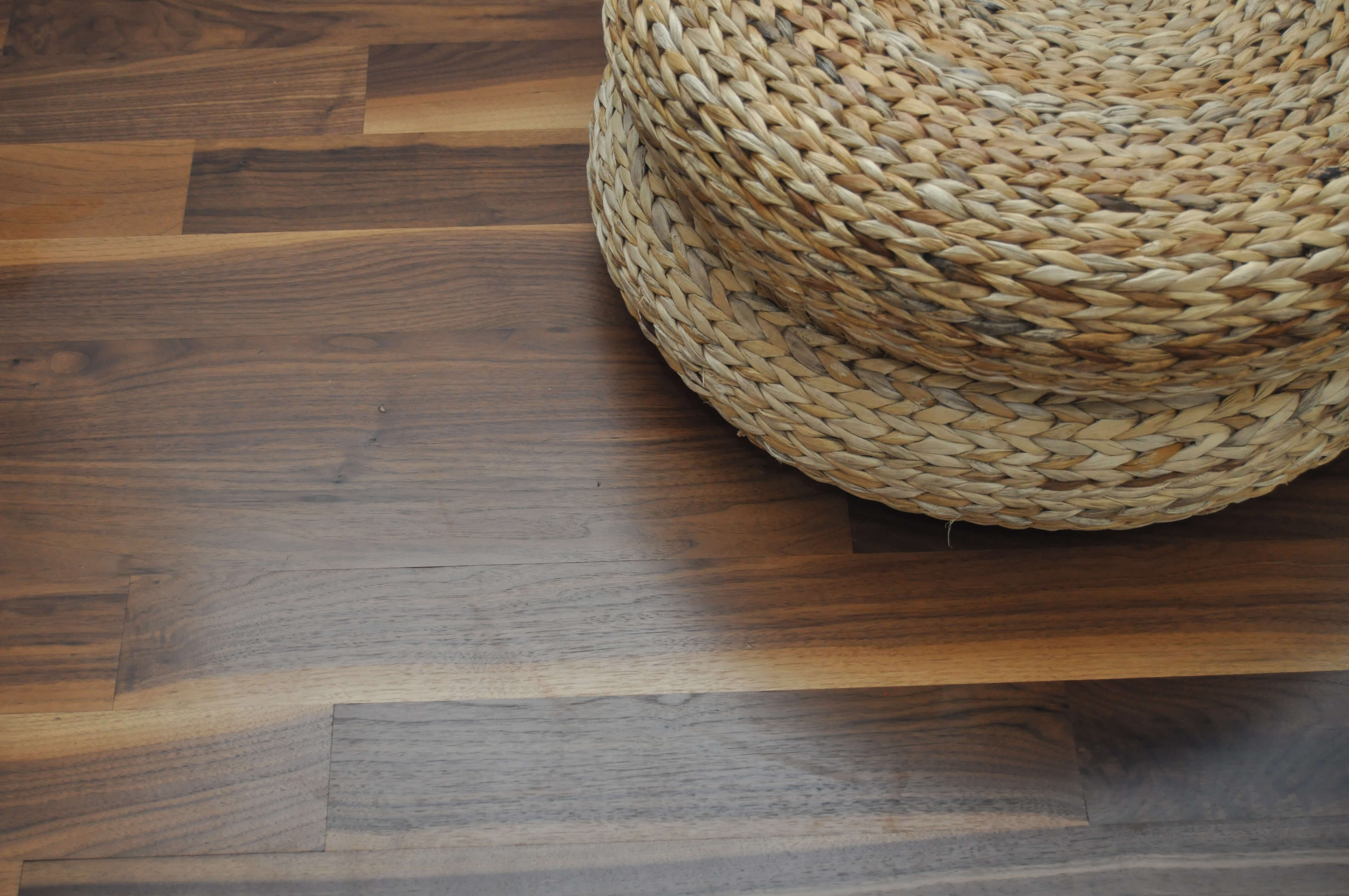 Close up of walnut floor finished with Rubio Monocoat.