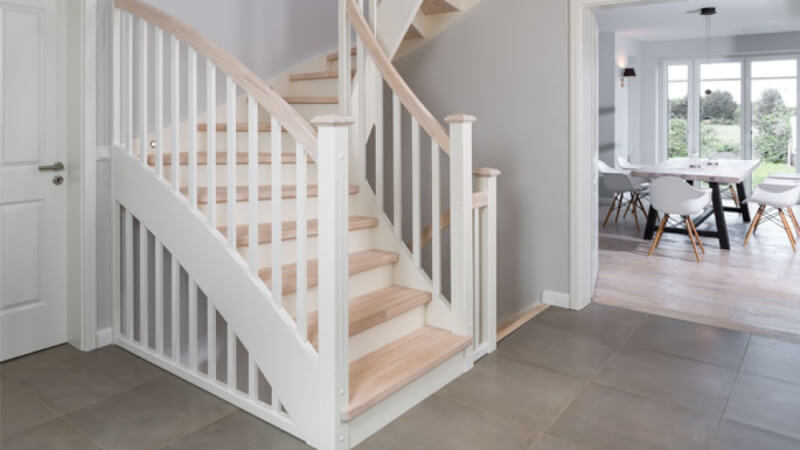 A light stair case finished with Rubio Monocoat Oil Plus 2C hardwax oil wood finish.