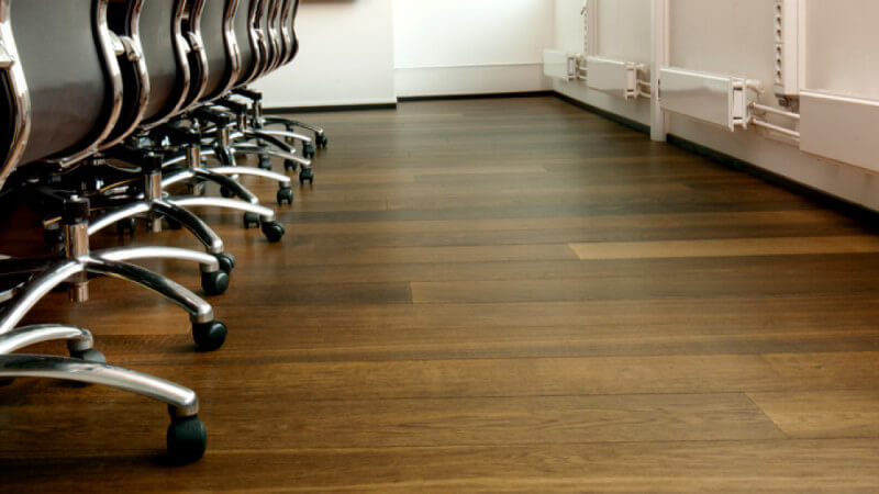 Hardwax oil finished wood flooring in an office.