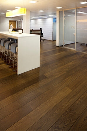 Hardwax oiled wood flooring in an office.